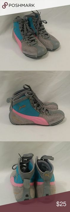 Retro Vintage Puma Boxing MMA Sneakers Sz 7 Grey/Pink/Teal.  Some minor scrapes but still in great shape. Puma Shoes Sneakers