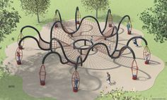 A terrific design concept from Dynamo Playgrounds combining a challenging ropes course and ten pod spinners.