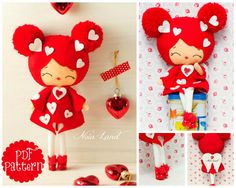 PDF. Valentine angel. Plush Doll Pattern, Softie Pattern, Soft felt Toy Pattern.