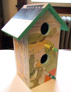 first birdhouse made (by me) with The Sky's the Limit: Stories of Discoveries by Women and Girls, written by Catherine Thimmesh and illustrated by Melissa Sweet