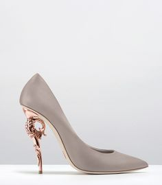 Ralph & Russo - Haute Couture Collection SHOES - STYLE 05-BAROQUE PUMPS-SMOG NAPPA LEATHER WITH ROSE GOLD HEEL