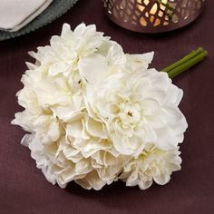 Victoria Lynn White Mixed Hydrangea and Dahlia Bouquet, 10 Inches Silk Bridal Bouquet, Silk Wedding Bouquets, Flower Bouquet Wedding, Bridesmaid Bouquet, Bridesmaids, Prom Flowers, Bridesmaid Dresses, Flower Bouquets, White Dahlia Bouquet