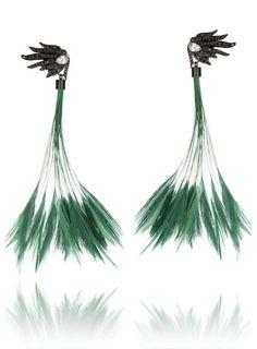 Emerald Green Fringe Earrings