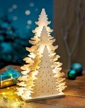 LED Vánoční strom ze dřeva