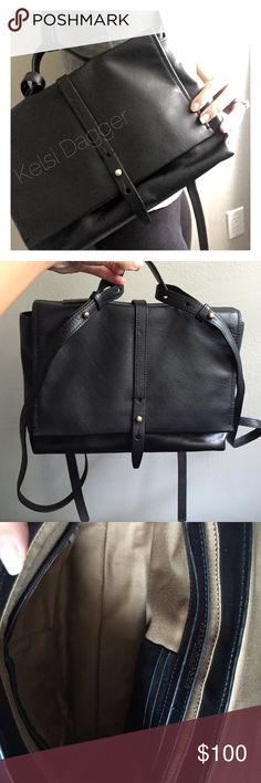 """Kelsi Dagger Brooklyn Ainsile Leather Backpack NWOT! Great for Fall 🍂 black leather mini backpack! The Brooklyn Backpack is made in black leather and features a top handle, flap and snap closure, adjustable straps, and three interior pockets. Fully lined. Adjustable straps, magnetic closure. Inside has two pockets, a zipper pocket, and card organization. Never worn.   *Leather  *11.5""""/29.2cm width  *7.5""""/19.05cm height  *3.5""""/8.89cm depth Kelsi Dagger Bags Backpacks"""