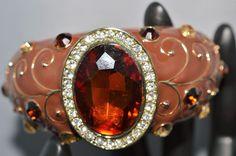Kenneth Jay Lane Enamel and Genuine Austrian Crystals Bracelet Signed KJL, Rare  #KennethJayLane #Bracelet
