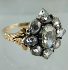 """Ca 1790-1800 diamond ring, the diamonds are set in silver, and the """" undercarriage"""" is made of gold."""
