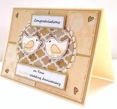 Golden Wedding Anniversary Card  by CraftyMushroomCards on Etsy
