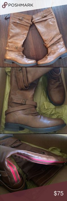 Madden Girl Boots Zerge. Fits bellow the knee. Chestnut brown with red zipper lining. Worn once. Madden Girl Shoes Combat & Moto Boots