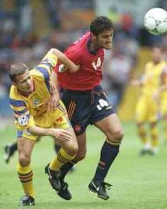 Spain 2 Romania 1 in 1996 at Elland Road. Kiko breaks away as Spain step up the tempo in Group B at Euro '96.