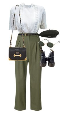 """Sem título #1627"" by oh-its-anna ❤ liked on Polyvore featuring Valentino, Dr. Martens, Lovestrength, Ray-Ban, Prada and kangol"
