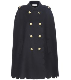 RED Valentino Navy wool-blend cape