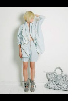 bleached out denim coat Anntian