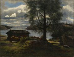 Fredrik Ahlstedt (1839-1901) Näköala Aurejärvelle Kurun kappelista / View from Aurejärvi lake in the Parish of Kuru 1872 - Finland - Finnish horse