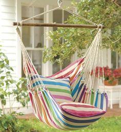 Rainbow Striped Cotton Hammock Chair Swing in Summer 2 2013 from Plow & Hearth on shop.CatalogSpree.com, my personal digital mall.
