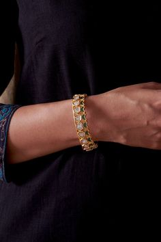 Description: Originating in the royal courts of Gujarat and Rajasthan, the technique of Polki Kundan comes to life in this bangle. Design: With a brass base, this bangle features precise Polki Kundan. Material: Brass with Kundan Kundan Bangles, Jewellery Earrings, Royal Court, Traditional Design, Handicraft, Handmade Jewelry, Fashion Jewelry, Minimalist, Ootd