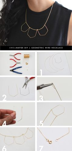 DIY geometric wire necklaces.swellmayde