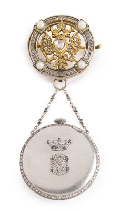 A Russian Imperial presentation jeweled platinum and gold pendant watch, Moser & Co., St. Petersburg, 1908-1917, the circular brooch centered with a gold, gem-set Imperial double-headed eagle within a border set with diamonds and pearls, suspending a circular watch, the case applied with the diamond-set initials Latin MS beneath a diamond-set coronet, the brooch struck with initials E.H., probably for Eduard Helenius.