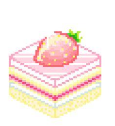 Pixel Art Sticker for iOS & Android Cute Pixels, Pixel Kawaii, Gifs Cute, Pixel Art, Sims 4 Anime, Pink Desserts, Emoji, Pixel Drawing, Kawaii Dessert