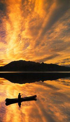 Lake Bennett, Yukon Territory, Canada - Beautiful sunset! I love Canada! I like kayaking!