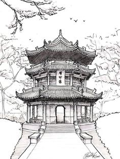 Architecture Drawing Pagoda drawing chinese pagoda by on devian. -Chinese Architecture Drawing Pagoda drawing chinese pagoda by on devian. - Custom House Portrait Pen and Ink drawing of home from photo Sketchbook Architecture, Architecture Drawing Art, Chinese Architecture, Art Sketchbook, Travel Sketchbook, Chinese Buildings, Famous Buildings, Ancient Architecture, Japanese Drawings