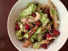 Salad =  11 weight watcher pts+  1 C lettuce 1/8 C Avocado  1/2 C Raspberries 4 oz grilled chicken 2 Tbs of Private Selection Raspberry      vinaigrette  1 Tbs pecans 1 Tbs feta cheese 1 Tbs dried cranberries