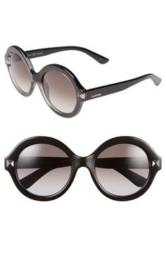 f326e097a3f Valentino  Floating Rockstud  54mm Round Sunglasses available at  Nordstrom  Black Round Sunglasses