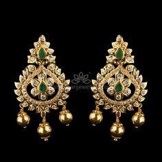 traditional Earrings at Kameswari Jewellers in India. Gold Jhumka Earrings, Buy Earrings, Jewelry Design Earrings, Gold Earrings Designs, Gold Jewellery Design, Designer Earrings, Pendant Jewelry, Earrings Online, Gold Jewelry