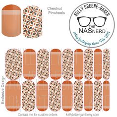 Chestnut Pinwheels inspired~ Get the Look without the polish! Contact me @ Kelly GB/The NAS Nerd on Facebook or email me bluegodiva@gmail.com if interested in designing/ordering a custom nail art studio sheet (NAS) of your own . Curious about Jamberry's 350+ ready-to-go catalog wrap designs, lacquer or gel enamels? Head to kellybaker.jamberry.com ~ DIY nail art, brown, chocolate, beige, tan, cream, graphics, stars, lines, stripes