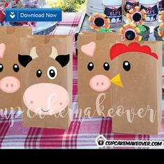 Turn simple brown bags into cute farm themed favor bags easily with these barnyard animal cutouts! ✻ WHAT YOU GET This listing is for 3 PDF files with cutou Farm Party Favors, Farm Themed Party, Barnyard Party, Party Favor Bags, Craft Party, Cow Birthday, Farm Animal Birthday, 3rd Birthday Parties, Party Animals