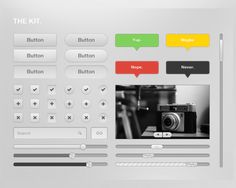 The Kit, #Buttons, #Checkbox, #Free, #Progress, #PSD, #Radio, #Resource, #Search #Field, #Slider, #Tooltip, #UI