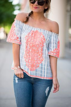 Embroidered Neon Off the Shoulder Top | Chicago Flag Necklace | Under $50