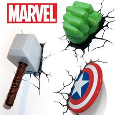 Villains everywhere will be quaking in their boots when they come face to face with Marvel's very own Avengers! Not just for kids, these themed wall lights look as though the superheroes have burst through your wall seeing off villains and watching over your room keeping the peace..