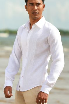 Mens Linen Havana Shirt - Guayabera-inspired shirt for beach wedding grooms, with a sleek & sporty fit, and exquisite pin-tuck detail. Casual Groom Attire, Casual Grooms, Mens Attire, Groom Outfit, Mens Beach Wedding Attire, Beach Wedding Groomsmen, Wedding Tux, Beach Groom, Dream Wedding
