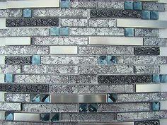 """BLACK DIAMOND"" MOSAIC tile metal tiles Black grey backsplash bar kitchen steel"