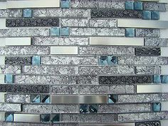 """BLACK DIAMOND"" MOSAIC tile metal tiles Black grey backsplash bar kitchen steel"