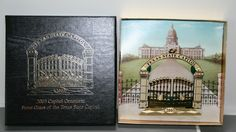 Texas State Capitol Christmas Ornament 2003 Front Gates with Box and Pamphlet