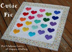 Cutie Pie Baby Quilt Patterns - The Cutie Pie Baby Quilt Patterns are adorable applique quilt patterns that will go together in a flash, making them the perfect free quilting patterns for those last-minute baby shower gifts.