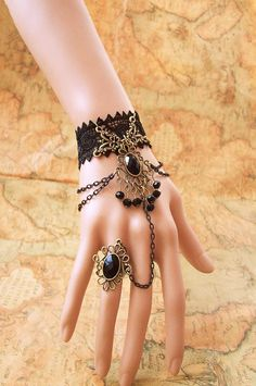 Handmade Vintage-Gothic Black Lace Crown Vampire Queen Lace Bracelet Ring