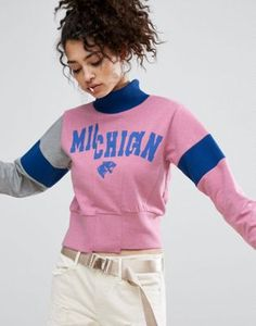 ASOS Sweat With Funnel Neck And Cutabout Print