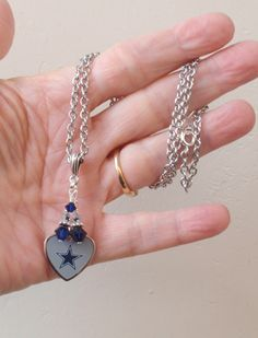 Dallas Cowboys Necklace, Cowboys Jewelry, Navy and Silver Crystal Heart Charm Necklace, Pro Football Cowboys Bling Accessory Fanwear by scbeachbling on Etsy