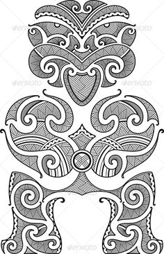 Tiki First Man Maori Style Tattoo Stock Vector (Royalty Free) 91934096 Maori Designs, Polynesian Designs, Polynesian Tribal, Polynesian Tattoos, Tiki Tattoo, Maori Patterns, Marquesan Tattoos, Maori Tattoos, Maori Art