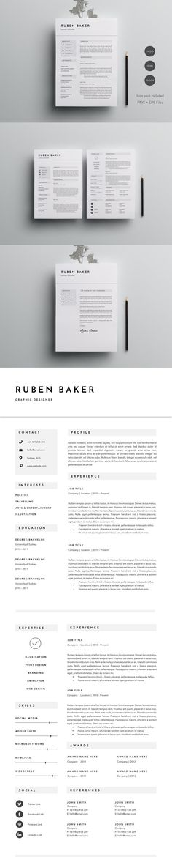 #resume #design from Papernoon   DOWNLOAD: https://creativemarket.com/papernoon/706294-Elegant-Resume-Template-3-Page?u=zsoltczigler