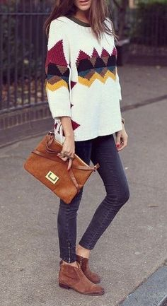 In love with the geometric pattern on this sweater, and the fall colors in the shapes.