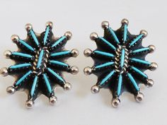 Artist BY signed Zuni Needle Point Turquoise & Sterling Silver .925 earrings