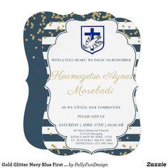 Gold Glitter Navy Blue First Holy Communion Invitation