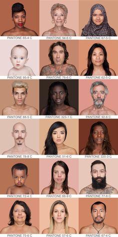 Esta fotógrafa puso las caras del mundo clasificadas según la gama Pantone. Miles de fotos, miles de rostros y tonos, pero una sola idea detrás: somos mucho más que un color racial. Human Reference, Anatomy Reference, Reference Images, Face Anatomy, Plakat Design, Face Expressions, Color Theory, Art Tips, Pantone Color