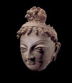BelgiumHead of Bodhisattva Terracotta, Ushkur-Type, Kashmir, 6th/7th century CE,