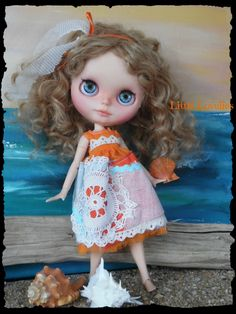 """BLYTHE DOLL dress - OOAK - """"Country Picnic"""" - Orange/White/Blue with doilley by CooeeChris on Etsy"""