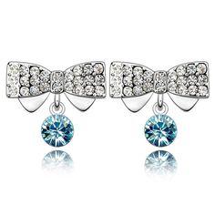 Blue color Austrian Crystal Earring,Bowknot design,